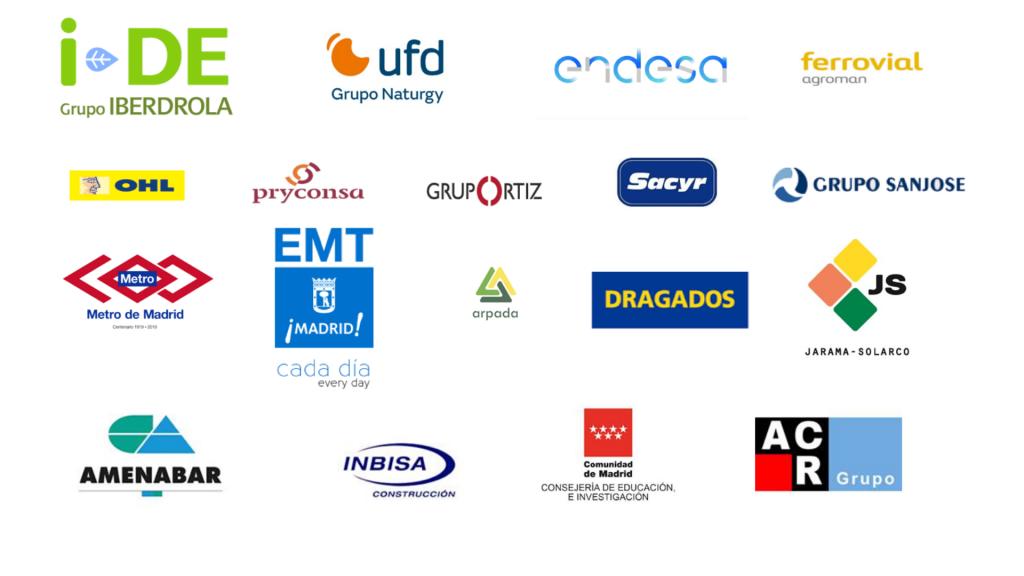 Grupo Iberdrola, Grupo Naturgy, Endesa, Ferrovial, OHL, Pryconsa, Grupo Ortiz, Sacyr, Grupo San José, Metro de Madrid, EMT, Arpada, Dragados, JS